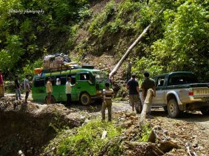 These vehicles needed to pass one by one due to the landslides