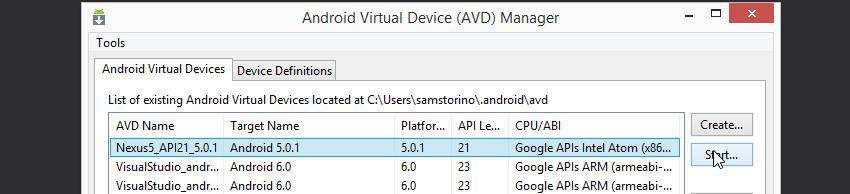 Create Android Virtual Device Visual Studio 2017 Create new