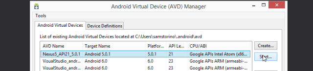 Start a Virtual Device in Android Device Manager