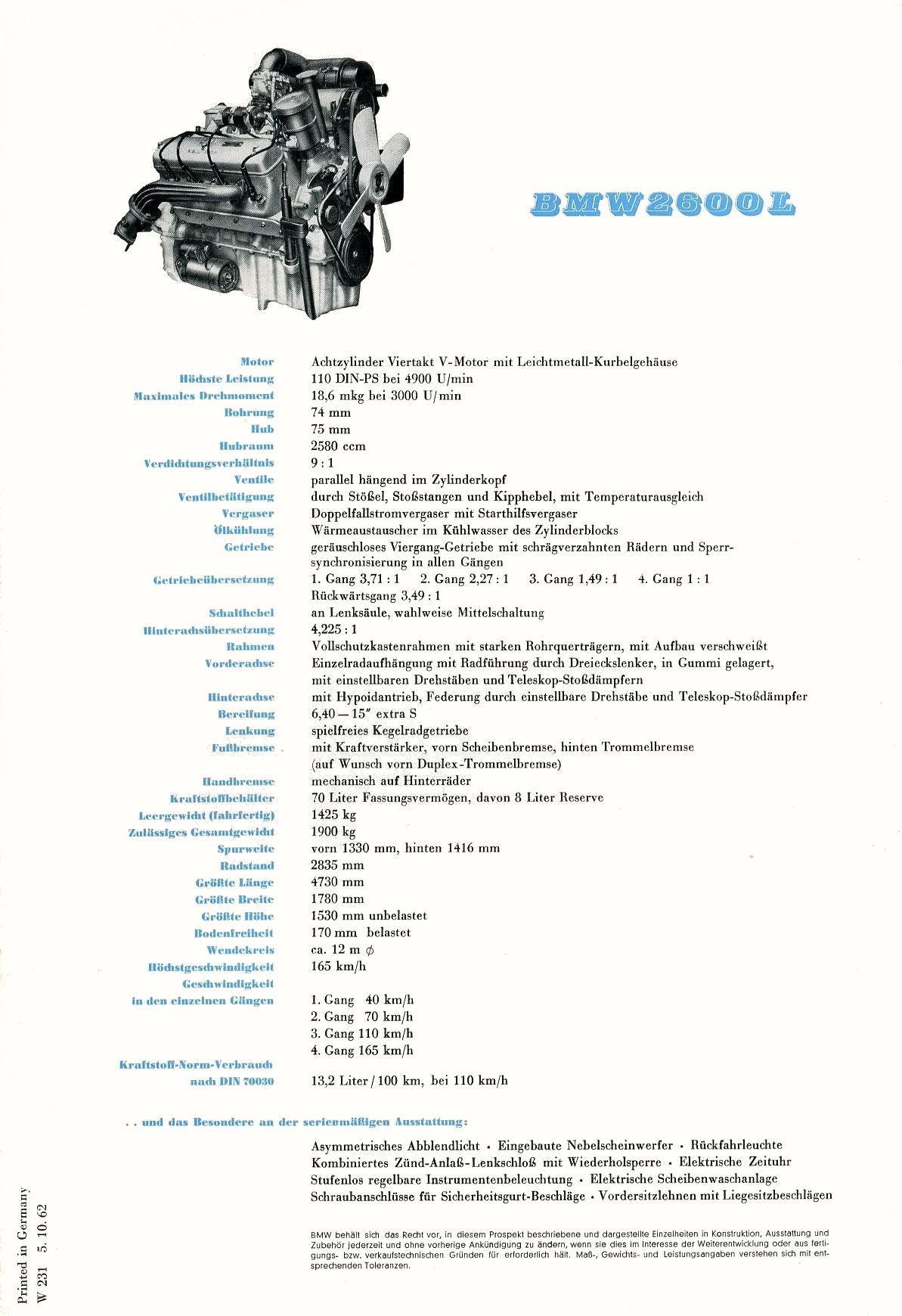 BMW 2800L brochure