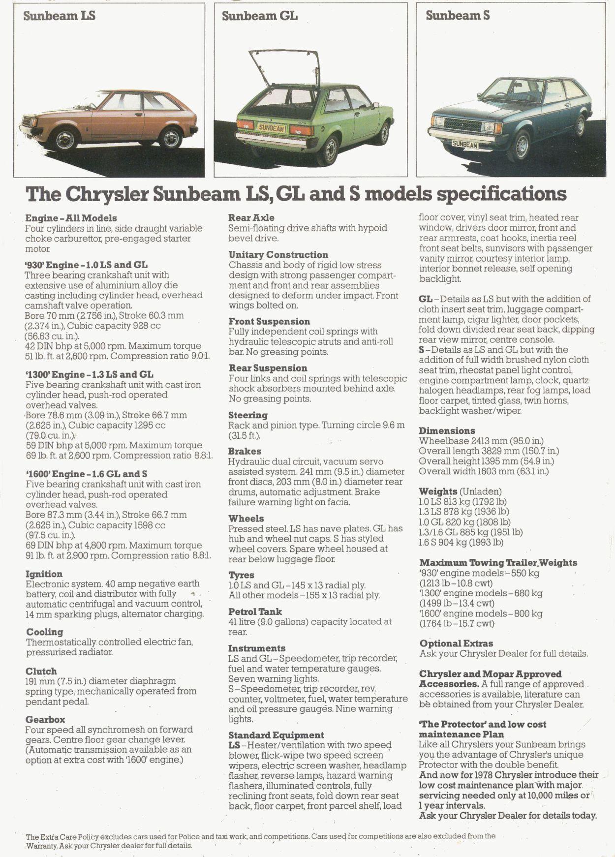 1977 Chrysler Sunbeam brochure