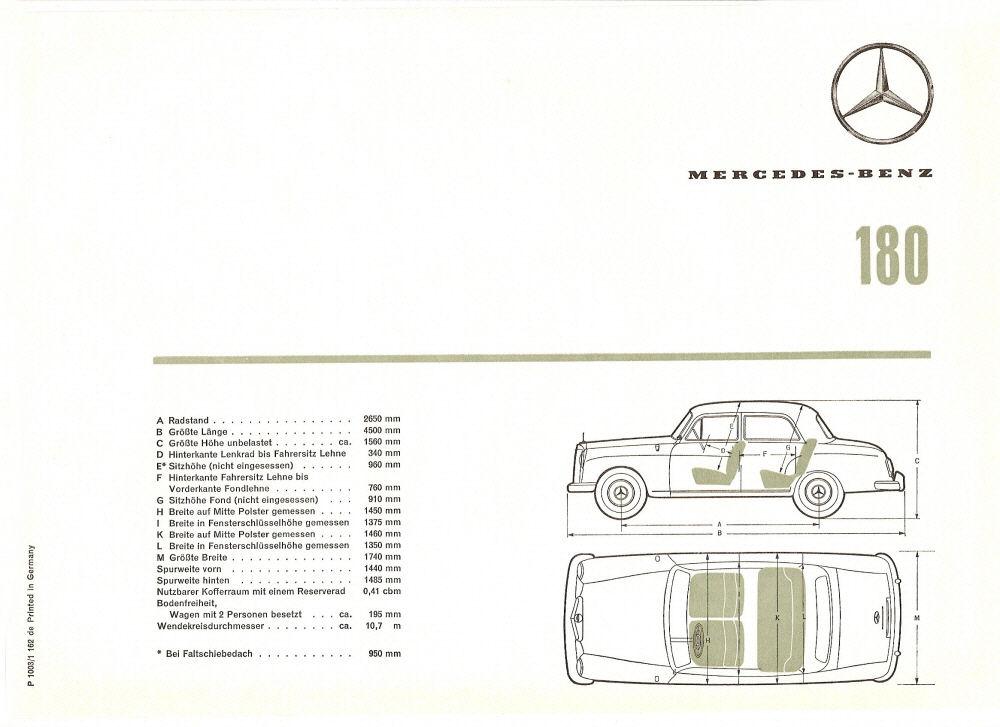 1959 Mercedes 180/180D brochure