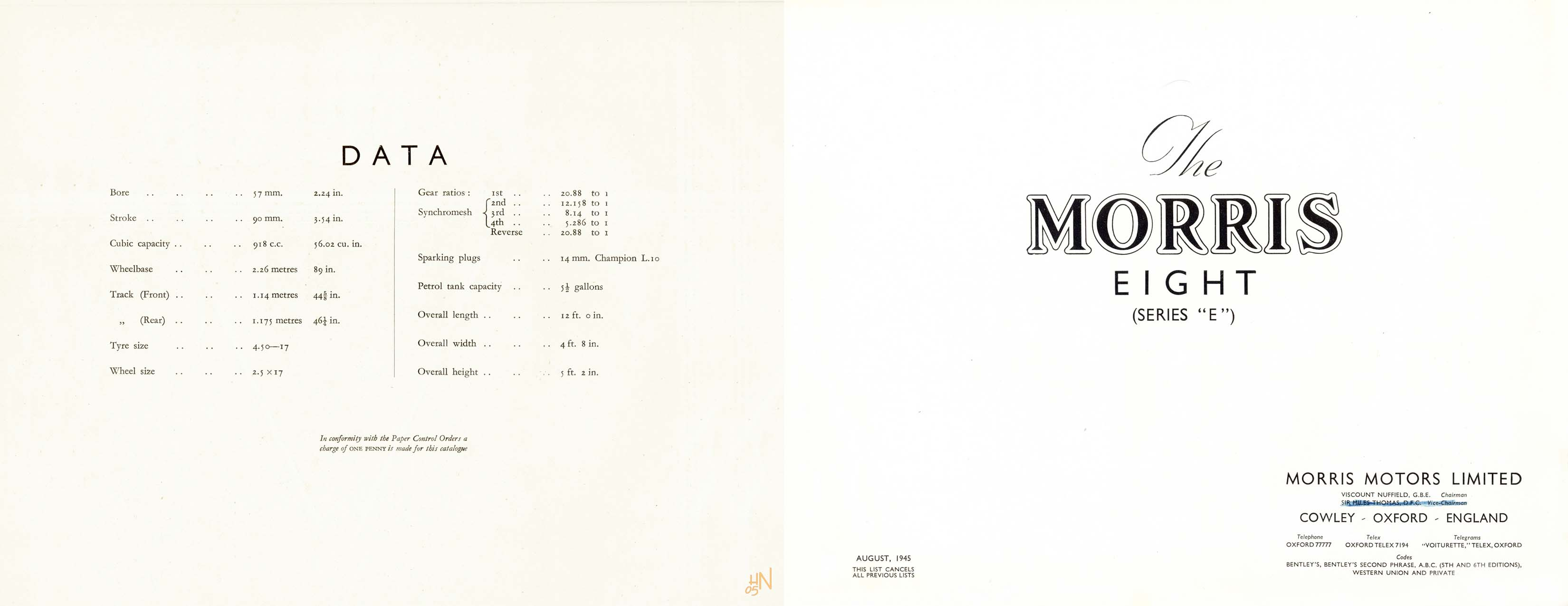 1945 Morris Eight series E brochure