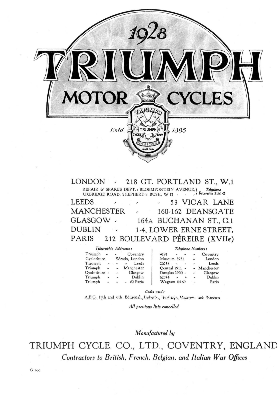 1928 Triumph brochure