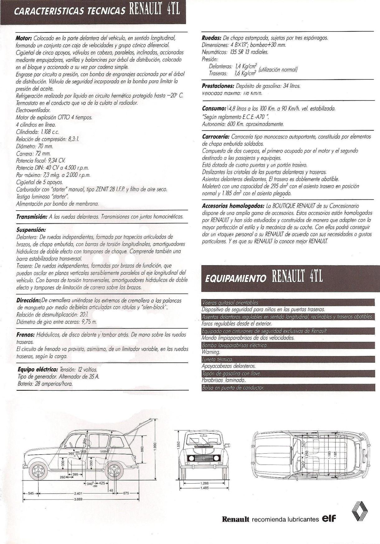1988 Renault 4 TL brochure