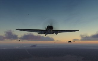 A formation of IL-2 with tracer fire in the background