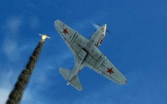 A Bf109 erupts into flame as my MiG-3 flies on!