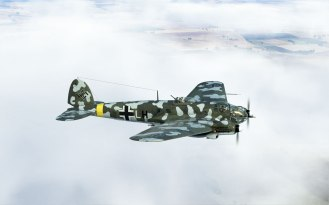 He111H-16 Low and in the clouds