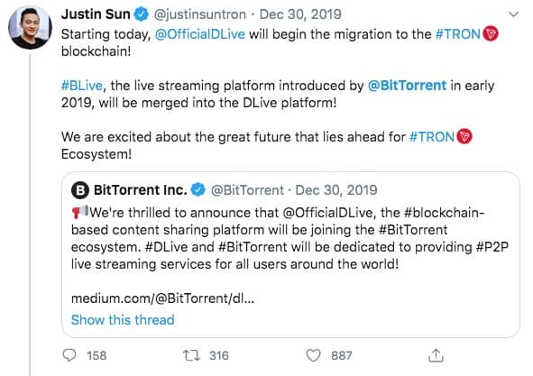 The live-streaming blockchain-based content platform migrates to TRON blockchain