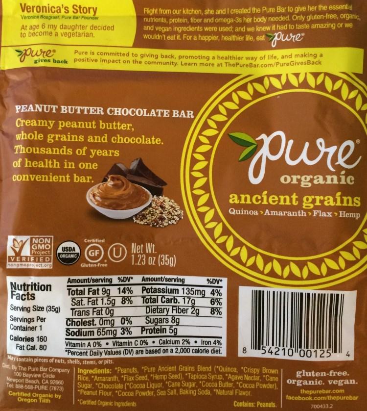 pure ancient grains peanut butter chocolate bar