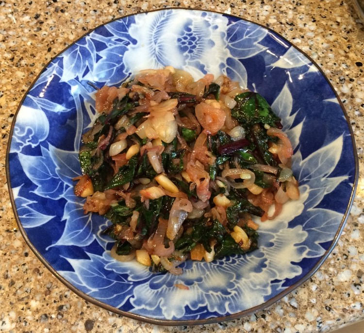 3 fried beet greens and shallots