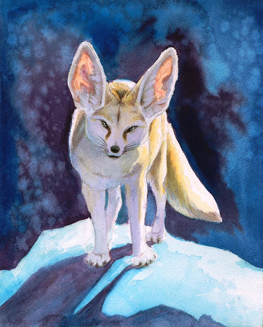 A watercolor painting of a fennec fox in surreal lighting