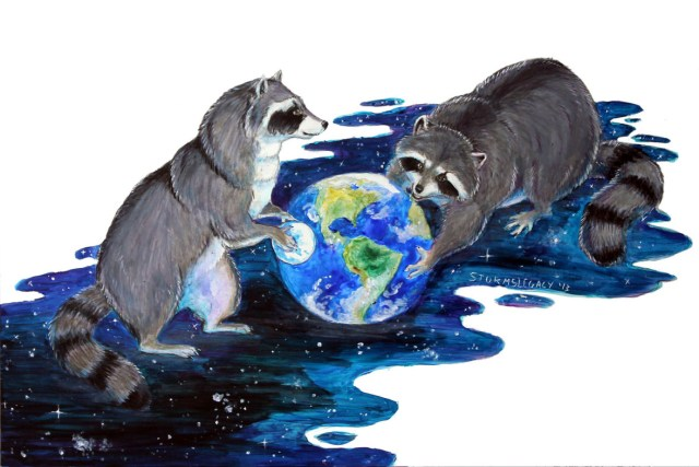 raccoons holding the earth
