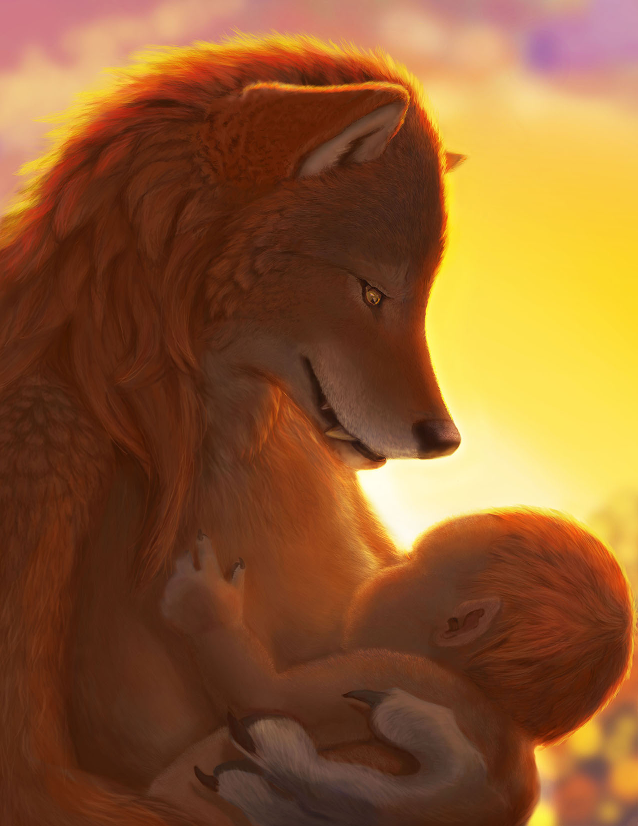A A werewolf mother nurses a tiny newborn in the light of the dawn.