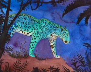 A jaguar strides across a surreal landscape