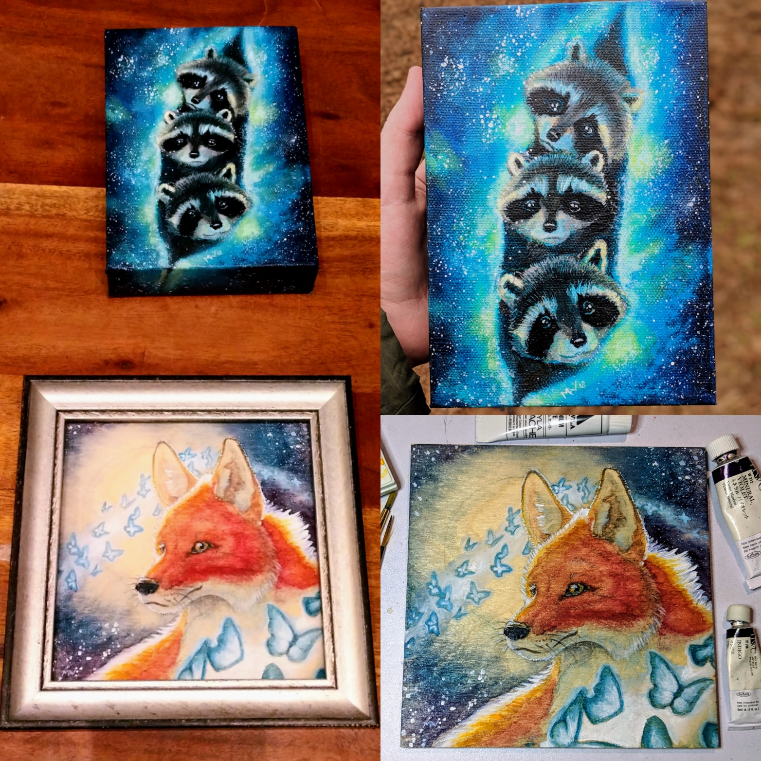 fantasy animal art paintings of a fox portrait and a nunch of raccoon babies in galaxy