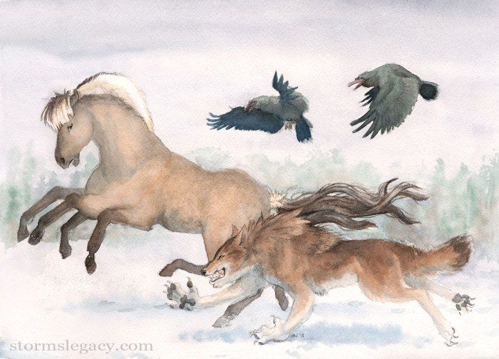 A watercolor illustration of a brown werewolf races Sleipnir the 8-legged mythic horse while the ravens Hugin and Muninn watch.