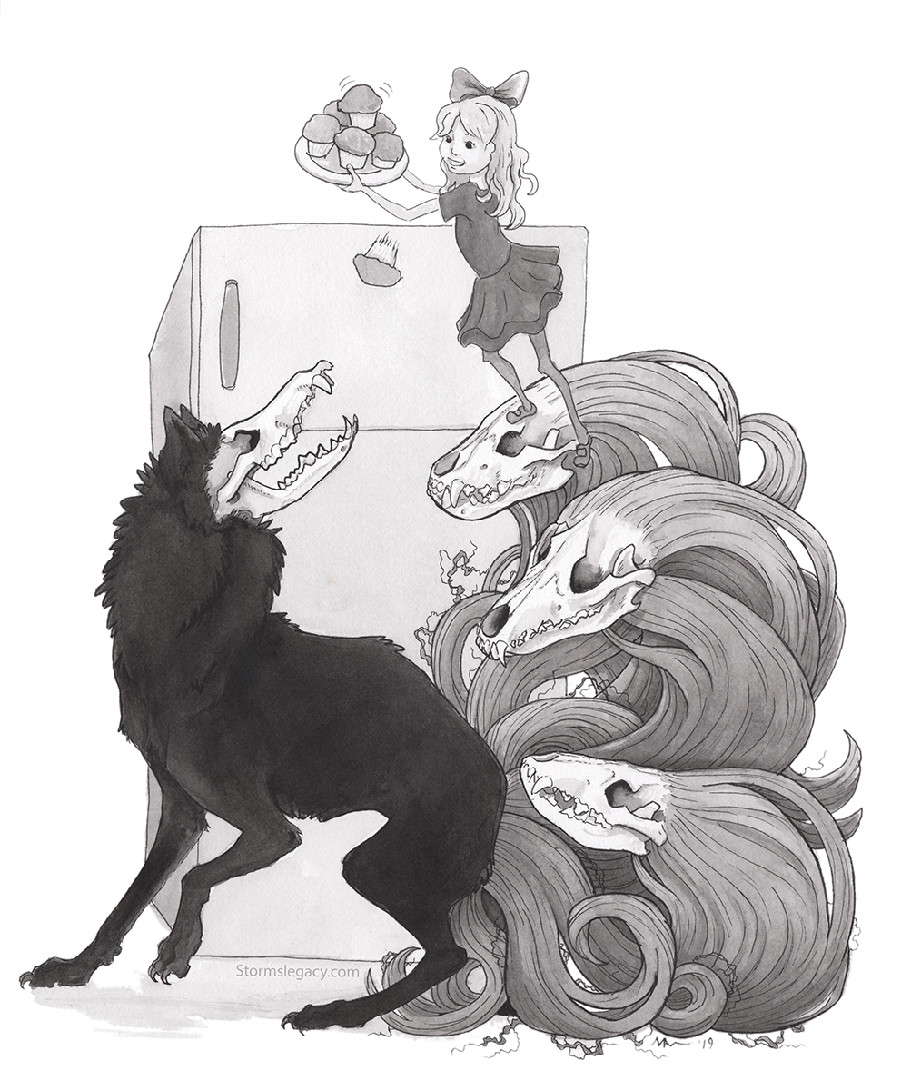 black and white ink painting of a girl cheerfully tossing a cupcake or muffin to a canine creature she is standing on, while itt's skull head happily gobbles it up
