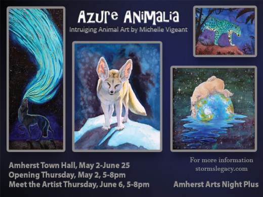 Amherst MA Art Exhibit Azure Animalia May through June Amherst Town Hall
