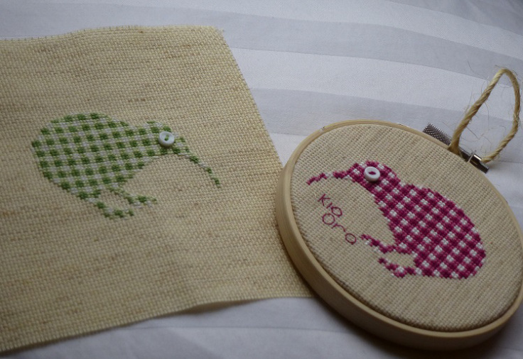 two kiwi birds cross stitch