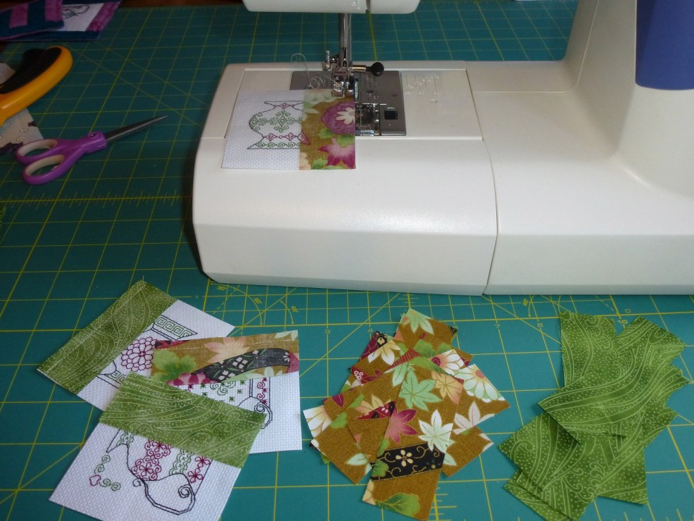 Sew fabric strips to design