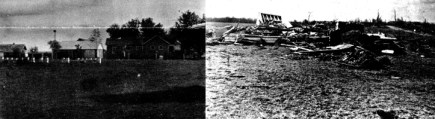 A before and after view of the Busy Bee Farm, located south of Quincy.