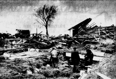 The demolished farm of Edwin Shroeder. A number of cows were killed and buried beneath the hay when the barn was destroyed.