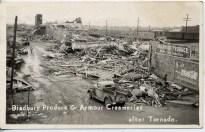 The wreckage of Bradbury Produce and Armour Creamery.
