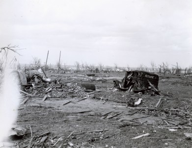 Looking northeast across the debris field on the outskirts of Woodward.