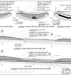 file typical dry swale profile section with check dams and draintile png [ 1306 x 806 Pixel ]
