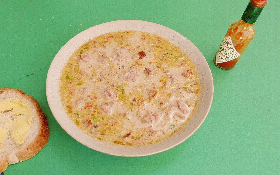 Leftover sausage and bacon chowder