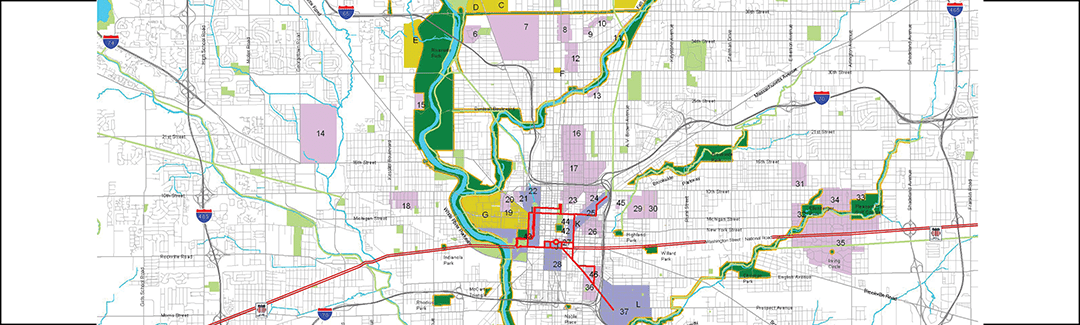 "Map of the ""Indianapolis Historic Park and Boulevard System: a continuing transformational legacy"""