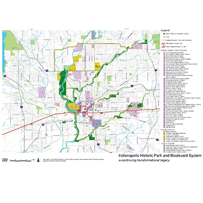 Map: The Indianapolis Park and Boulevard System: a Continuing Transformational Legacy