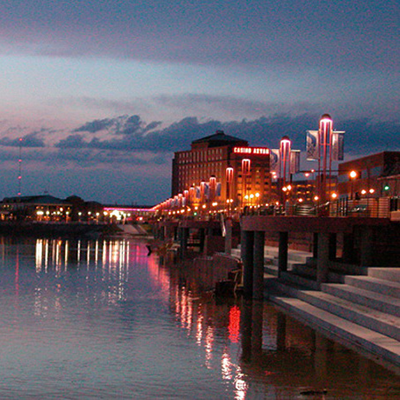 Evansville Riverfront at night from the Ohio River