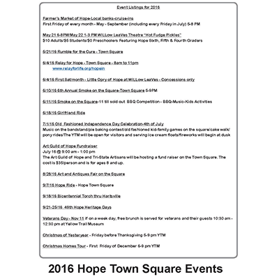 2016 Events Listing for Hope Town Square