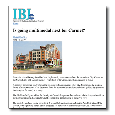 Carmel Multimodal System Plan - IBJ Article