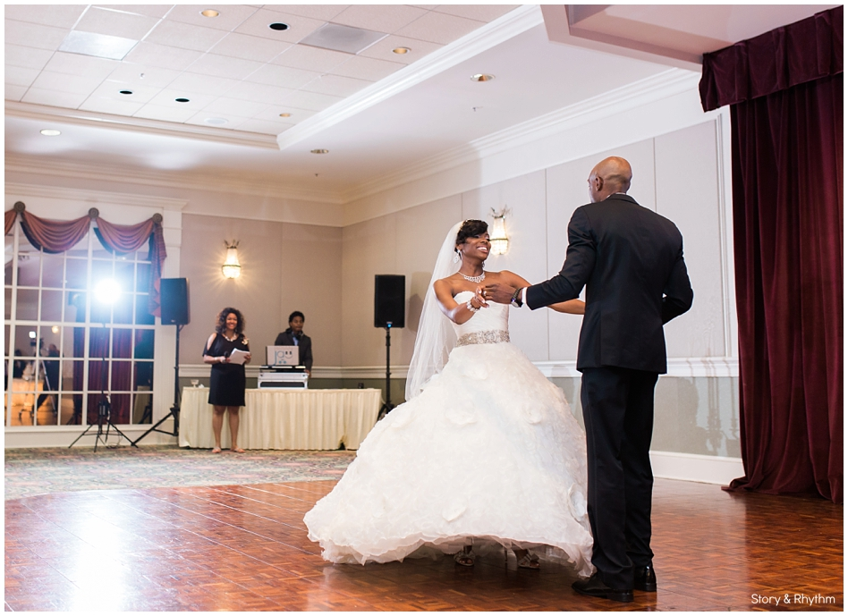 The bride and groom sharing their first dance as husband and wife