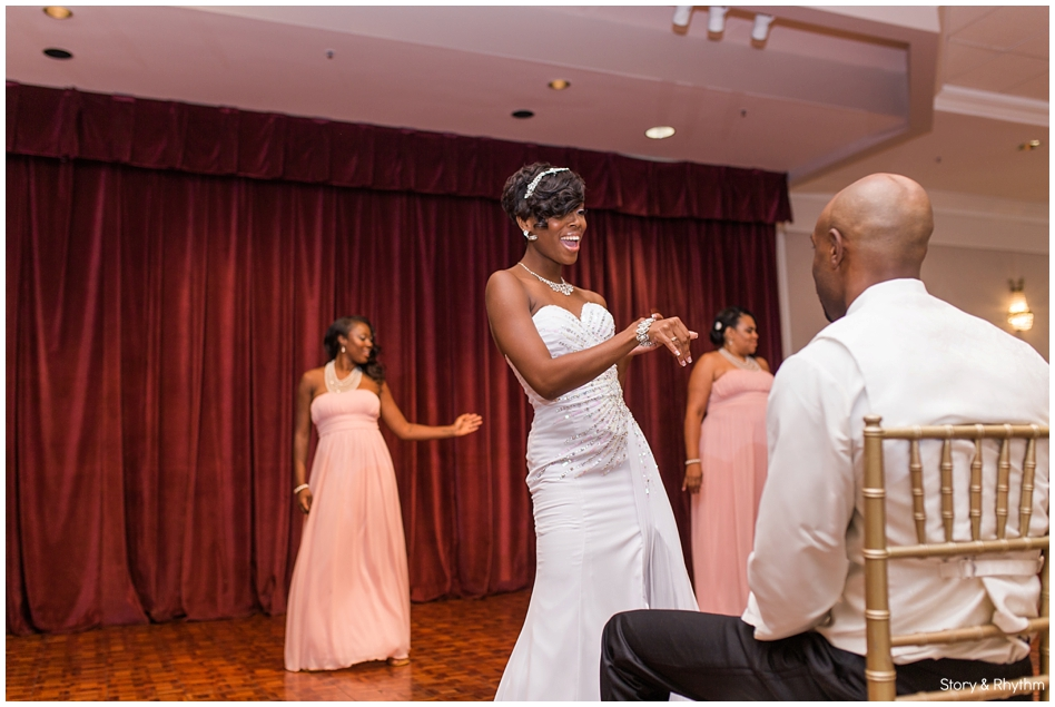 The bride dancing with the groom