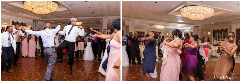 Wedding guest dancing during the reception