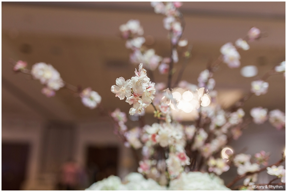 Pretty pink and white flowers as reception centerpieces