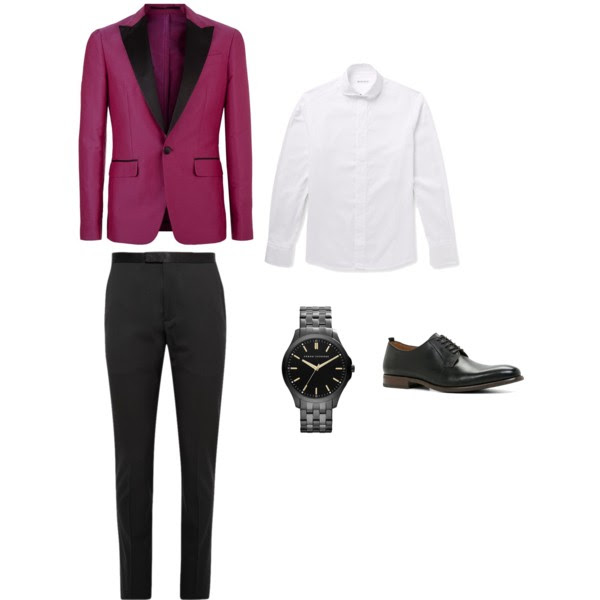 Burgundy blazer with black pants for wedding