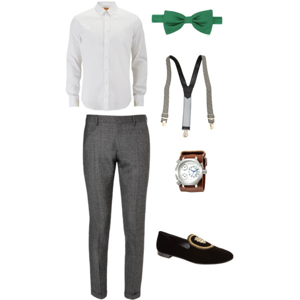 Suspenders with a green bowtie for wedding