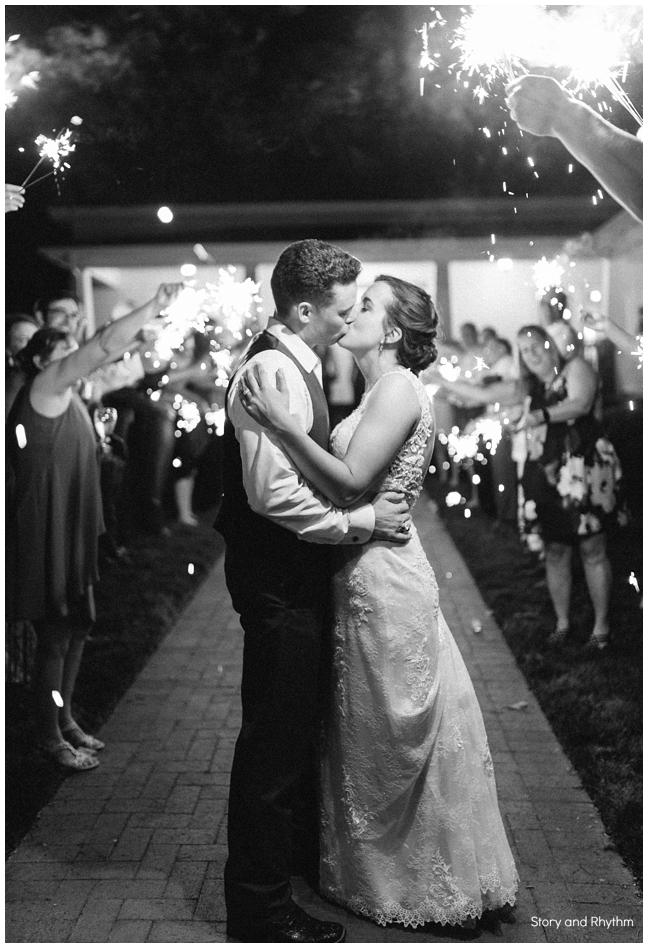 Sparkler exit at Rand Bryan House wedding