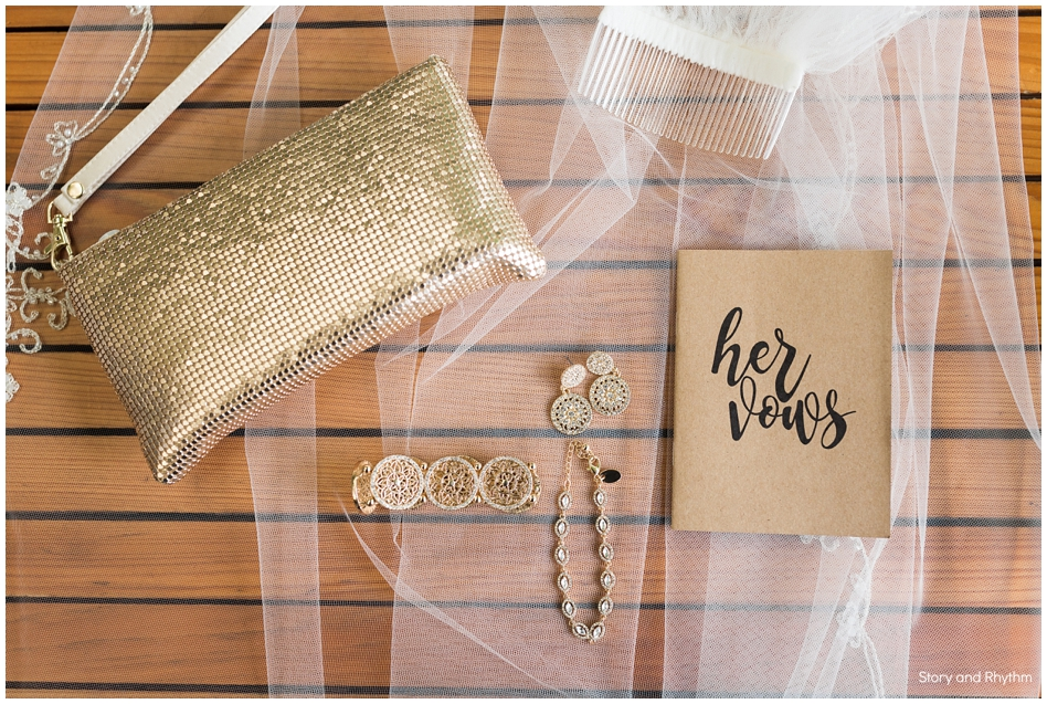 Bride's wedding vow book and jewelry