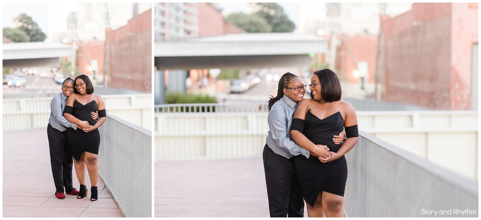 Outdoor engagement photos in downtown Raleigh