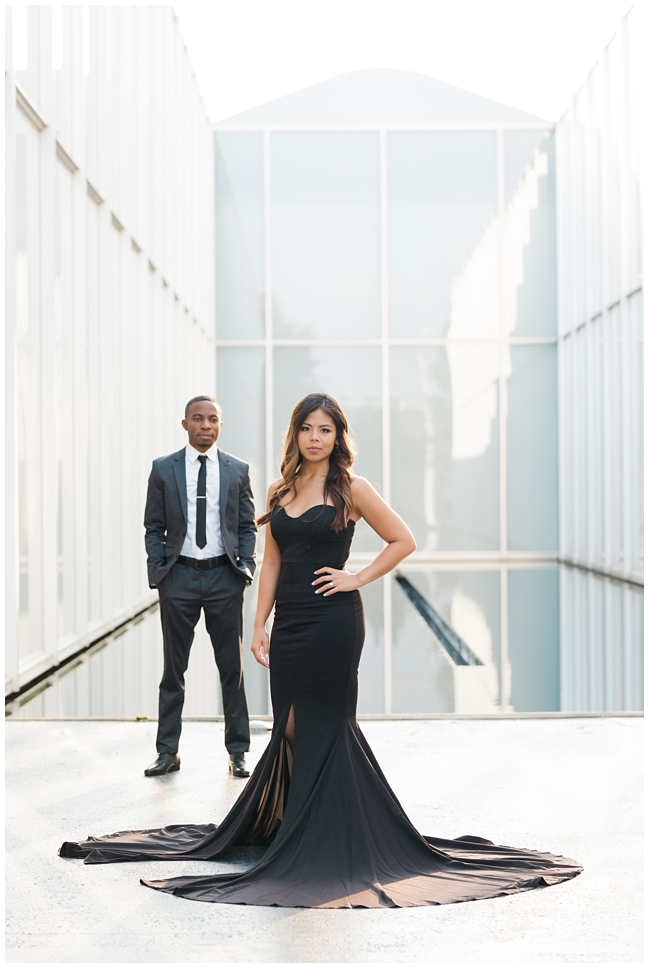 Black dress with train for engagement photos