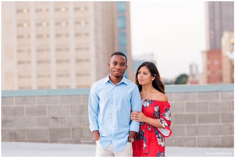 Rooftop engagement photos in Raleigh, Durham NC