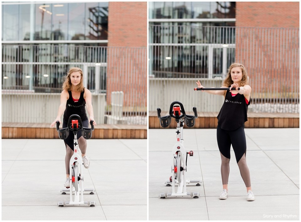 Outdoor fitness photos on exercise bike