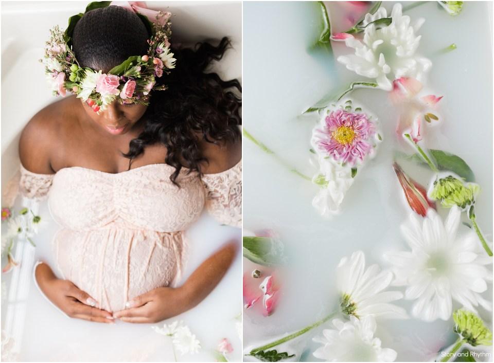 Milk bath maternity photos