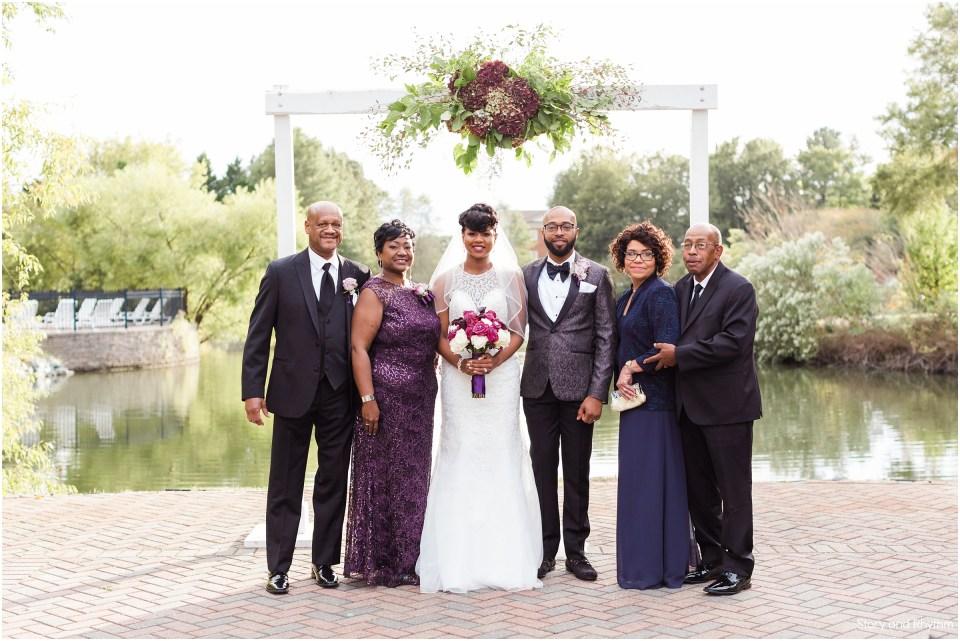 Family photos at a wedding